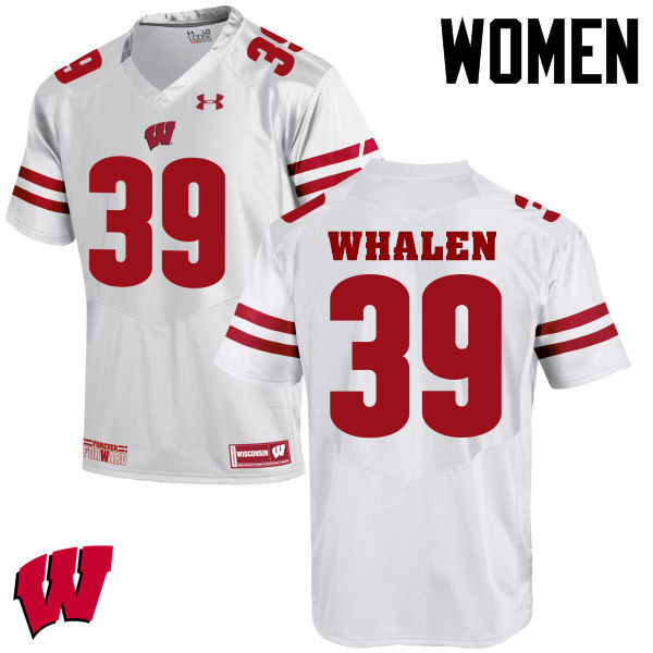 Women Winsconsin Badgers #39 Jake Whalen College Football Jerseys-White